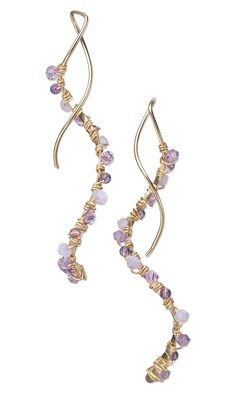 Jewelry Design - Earrings with Swarovski Crystal Beads, Amethyst Gemstone Beads and Wire Wrap - Fire Mountain Gems and Beads