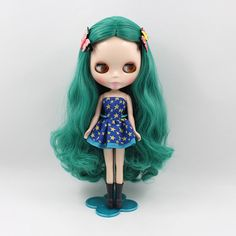 "12""Blythe Nude Doll Sea Blue Hair from factory #Takara"