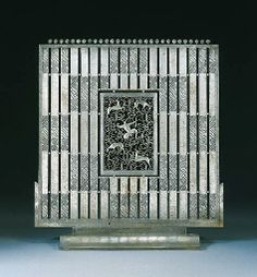 French Art Deco: A wrought iron fire screen by Edgar Brandt, Ca 1925.