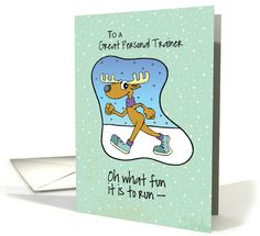 To Personal Trainer Running Exercise Reindeer Christmas card