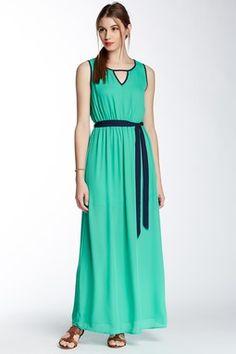 Sleeveless Maxi Dress with Contrast Trim