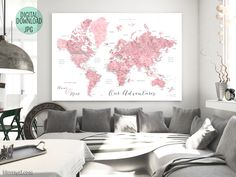 """Custom quote - pink watercolor printable world map with cities, capitals, countries, US States... labeled. """"Peony"""" #CustomDesignedPrintable #CustomArtPrint #CustomQuote #custom #CustomPrintable #CustomMap #ArtPrint #CustomMapPoster #CustomMapPrint #CustomArtwork"""