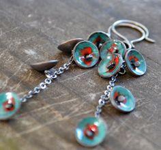 bluebell earrings  sterling silver  copper by wildflowerdesigns, $60.00