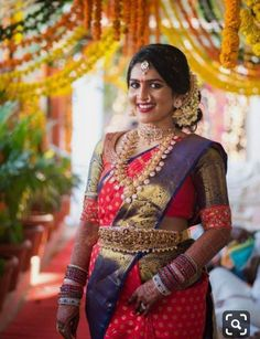 South Indian Brides Who Rocked The South Indian Look South Indian Bride Hairstyle, Indian Bride And Groom, Indian Bridal Sarees, Indian Wedding Wear, Wedding Saree Blouse Designs, Saree Wedding, Wedding Poses, South Indian Blouse Designs, Hindu Bride