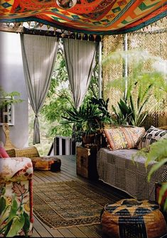 boho style porch/ i'm working on it. Just don't like the idea of my tapestries fading in the sun, so I'm hesitant.
