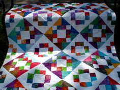 Twin coverlet or lapScrap Happy Batiks 48 inches by by happyquilts, $99.00
