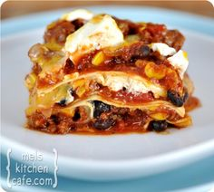 Mexican lasagna-- I want to try this with veggie crumbles instead of beef and corn tortillas instead of noodles.