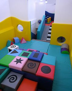 I wish I could find soft play equipment like this in more mellow colors Kids Play Area Indoor, Soft Play Area, Kids Play Spaces, Indoor Playground, Play Rooms, Playground Ideas, House Furniture Design, Kids Furniture, Plywood Furniture