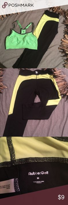 Brand new! Old Navy Sports Bra-Rubber Doll Capri's Never worn work out gear! Fluorescent green, yellow and black colors! Just a little too small for me! Good quality! Sports bra is Old Navy and the pants are the brand Rubber Doll Old Navy Pants Track Pants & Joggers