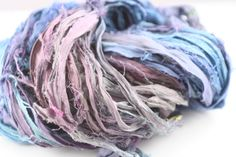 Reclaimed Sari Silk Ribbon: Rose and Cornflower Blue from DGY