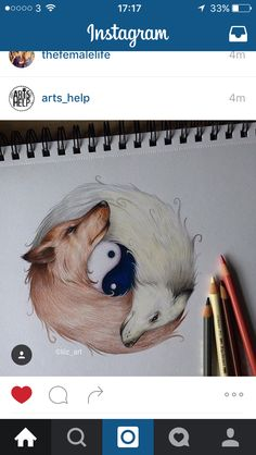 Fox yin yang tattoo idea