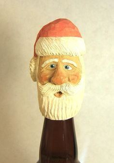 Hand Carved Wood Santa Wine Bottle Stopper by ClaudesWoodcarving, $30.00