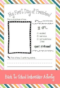 My First Day of Preschool - Back To School Activity