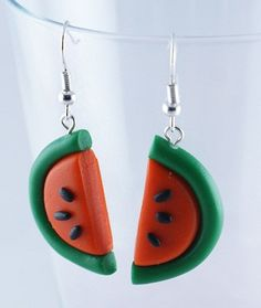 WATERMELONS polymer clay earrings by kingaer on Etsy, $4.90