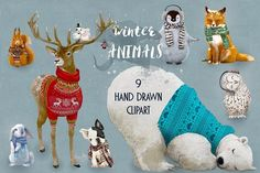 9 cute winter animals by Eve_Farb on @creativemarket