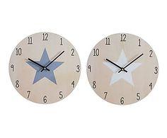 Set de 2 relojes de pared en madera Etoile - Ø33,8 cm