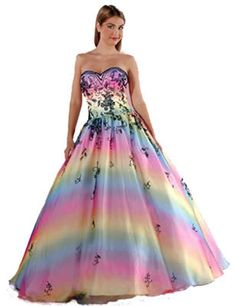 Details about Rainbow Quinceanera Sweet 16 Dance Ball Gown Dress ...