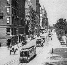 59th Street, Looking West from Grand Army Plaza, circa 1894. The original Plaza Hotel is left. Central Park is off to the right.