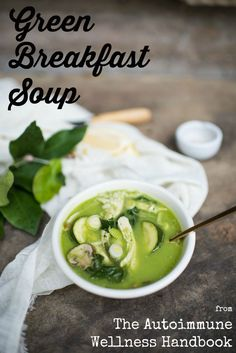 Breakfast soup may seem like an odd choice to some, but in fact it is a common dish in cultures around the world. A humble bowl of soup is nourishing, satisfying, and quick - all features busy people appreciate for that first meal of the day - and can be easily made to conform to the requirements of many healing diets, including the autoimmune protocol (AIP).