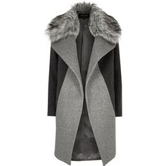 River Island Grey faux fur collar coat (11.615 RUB) ❤ liked on Polyvore featuring outerwear, coats, jackets, faux fur trim coats, gray coat, river island, oversized coat and long sleeve coat