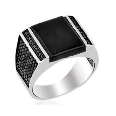 Rectangle Black Onyx Silver Men's Ring