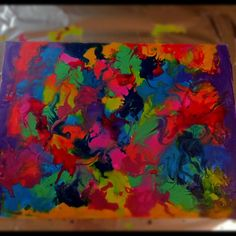 Melted Crayon Art. Melt the crayons with either a blow dryer or embossing heat gun. Just break crayons into pieces and start melting. Children could do this with parental supervision. I enjoyed making this and can't wait to work on my next one!