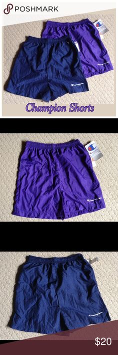 Youth Girl Champion Shorts Bundle 2 pairs/purple and navy. Two side pockets. Youth girl size Large(12/14) 100% nylon Champion Bottoms Shorts