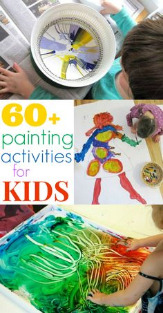 Painting Activities for Kids :: More than 60 awesome kids painting ideas using tempera paint, fingerpaint, acrylic paint, BioColor paint, and other paints!