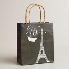 One of my favorite discoveries at WorldMarket.com: Small Eiffel Tower Airship Kraft Gift Bag