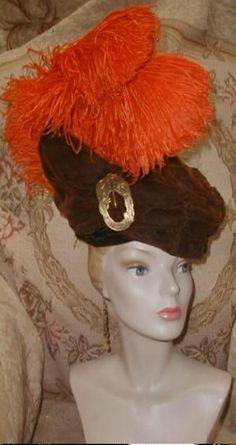 FIRE PLUMES 1912 Edwardian Velvet Hat w Orange Ostrich Feathers,Nouveau Brooch #Edwardian