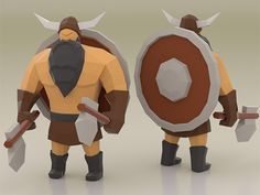 Viking Character, 3d Model Character, Character Modeling, Game Character, Modelos Low Poly, Fun Craft, Paper Craft, Craft Ideas, Low Poly Games