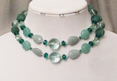 Aqua Quartz Jewelry, Aquamarine, Amazonite, Long Necklace, Double Wrap Necklace, Handmade, Natural Gems, Gift For Her, Bridesmaid Necklace