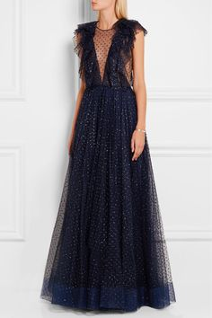 JENNY PACKHAM Ruffled embellished tulle gown
