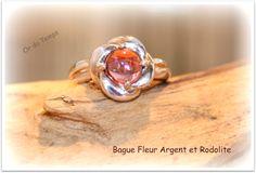 Bague Fleur Argent et Rodolite
