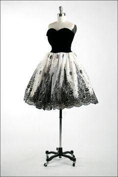 Vintage 1950s Dress . Black Velvet . White Chiffon . Flocked Flowers . Glitter . Floral . Full Skirt . Strapless