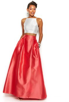 Xscape Contrast Halter Two-Piece and Ball Skirt