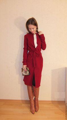 """Купить Пальто """"Katarina"""" весна/осень - бордовый, пальто, пальто халат, бордовое пальто, красное пальто"""