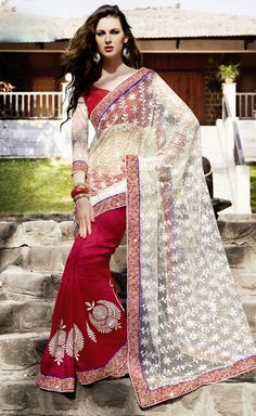 Resplendent Red and Off White Saree