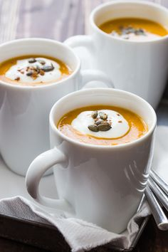 Serve this Roasted Butternut Squash soup in cute little mugs topped with a dollop of sour cream and a sprinkling of maple roasted pumpkin seeds or praline pecans and your family will be quite pleased with you. Make an extra big batc Fall Recipes, Soup Recipes, Vegetarian Recipes, Cooking Recipes, Butternut Squash Soup, Roasted Butternut, Soup And Sandwich, Snacks, Soup And Salad