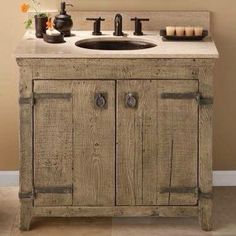 Small rustic bathroom vanity inary country bathroom vanity home best small rustic bathrooms ideas on cabin Rustic Vanity, Wooden Vanity, Rustic Bathroom Vanities, Rustic Bathrooms, Bathroom Furniture, Rustic Furniture, Small Bathroom, Bath Vanities, Bathroom Ideas