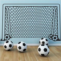 Vinyl Wall Decal Art Sticker Soccer Football Goal Net Sports Ball Decor