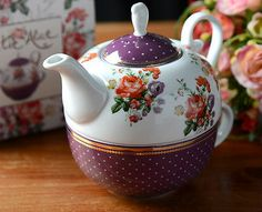 KATIE ALICE Scarlet Posy PURPLE FLORAL Shabby Chic CUP 692cc396e06