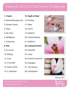 February CY365 Photo Challenge List | 2015 | CaptureYour365