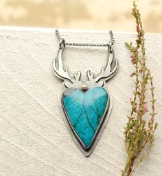 Morenci Chrysocolla Necklace Silver Antler Pendant by EONDesign