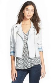 Frenchi® Denim Moto Jacket (Juniors) available at Justin Bieber Sleeve, Moto Jacket, Sweater Jacket, Pretty Little Liars Outfits, Zip Front Dress, Stretch Denim, Nordstrom, Ruffle Blouse, Sleeves