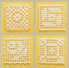 Miniature crochet square doily inches dollhouse by MiniGio Thread Crochet, Filet Crochet, Crochet Motif, Crochet Doilies, Crochet Flowers, Crochet Lace, Crochet Stitches, Crochet Square Patterns, Crochet Blocks