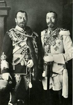 Tsar Nicholas II of Russia and King George V of Great Britain. Maternal first cousins through their mothers, Princesses Alix (Queen Alexandra) and Dagmar of Denmark (Tsarina Maria Feodorovna).