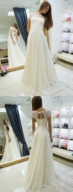 A-linie Bateau Pinsel Schleppe Kappe Ärmel Öffnen Rücken Hochzeitskleid mit Spitze Brautkleider Brautkleid Hochzeitskleider