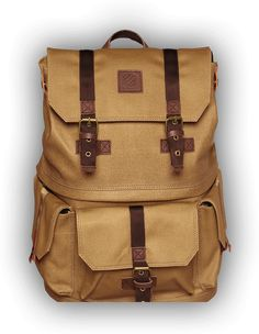 """Langly Alpha Pro camera bag. Crafted out of waterproofed canvas with leather and brass detailing, Langly bags are designed to hold an SLR and up to 4 additional lenses, and a 15"""" laptop. The top compartment holds at least a days worth of clothing making it ideal for day trips."""