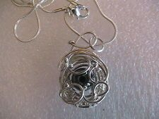 Artisan Handmade Hematitie, Silver Wire Wrapped Pendant Necklace by GTD